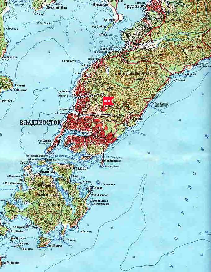 Подробная карта Владивостока